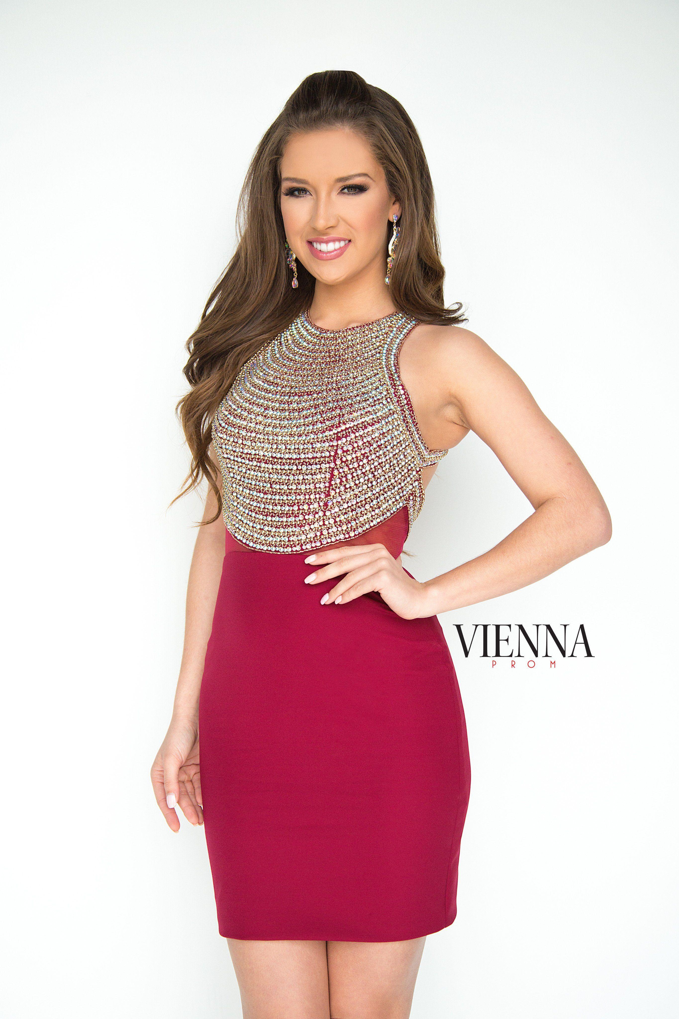 Vienna prom burgundy beaded high neck form fitting short dress