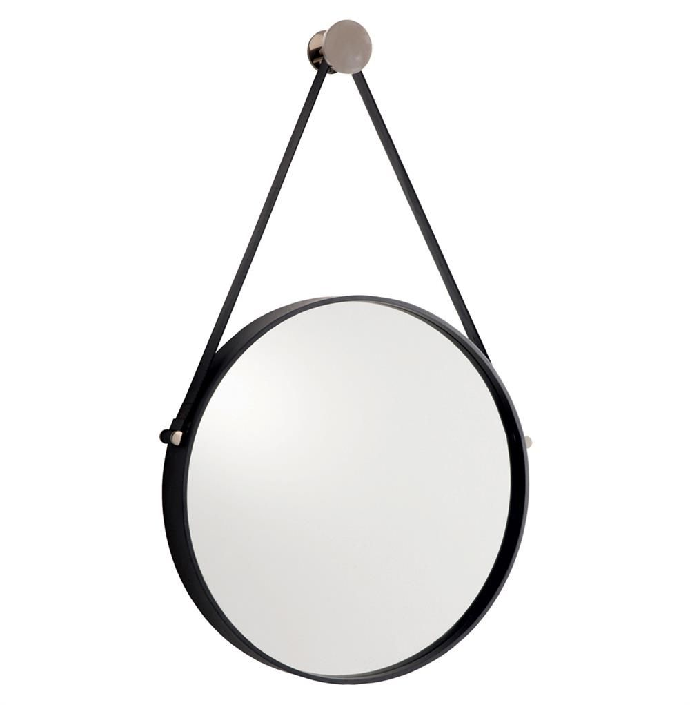 Arteriors Expedition Iron Round Mirror With Leather Strap 17d