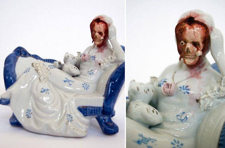 Jessica Harrison y su perturbadora obra en porcelana y piel. Lo de los muebles de piel con pelos si es desagradable.