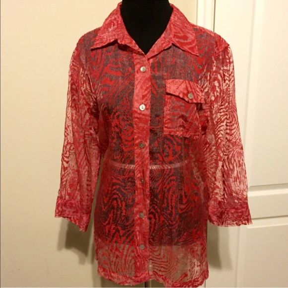 Chico's Red Patterned Sheer button up blouse! Sz M Beautiful blouse, would look great for Spring with a tank or cami underneath! Can wear open or closed. 3/4 length sleeve. Chico's Tops