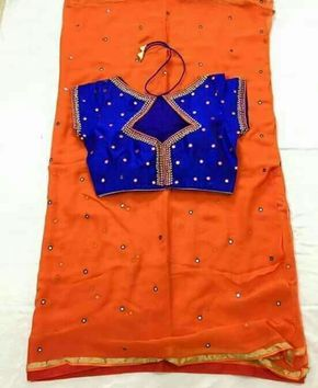 Mirror work saree with blouse...  Ready to wear...  To buy plz WhatsApp on  +91 9703713779
