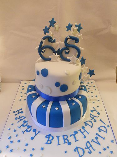 Blue Silver White 65th Birthday Cake Stars