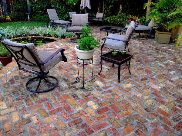 Paving Inspiring Laying Red Brick Patio In Herringbone Pattern Pavers With Cast