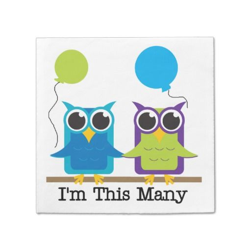 Owls I'm This Many 2nd Birthday Paper Napkins