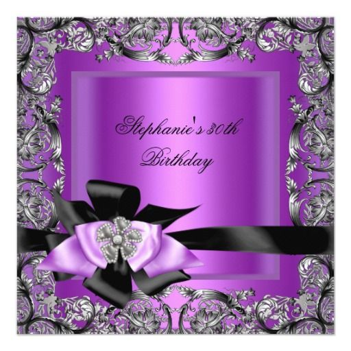 Purple And Silver Wedding Backgrounds: Birthday Party Purple Silver Black Bow Invitation