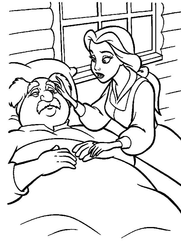 Belle With Father Coloring Pages Disney Disney Princess Coloring