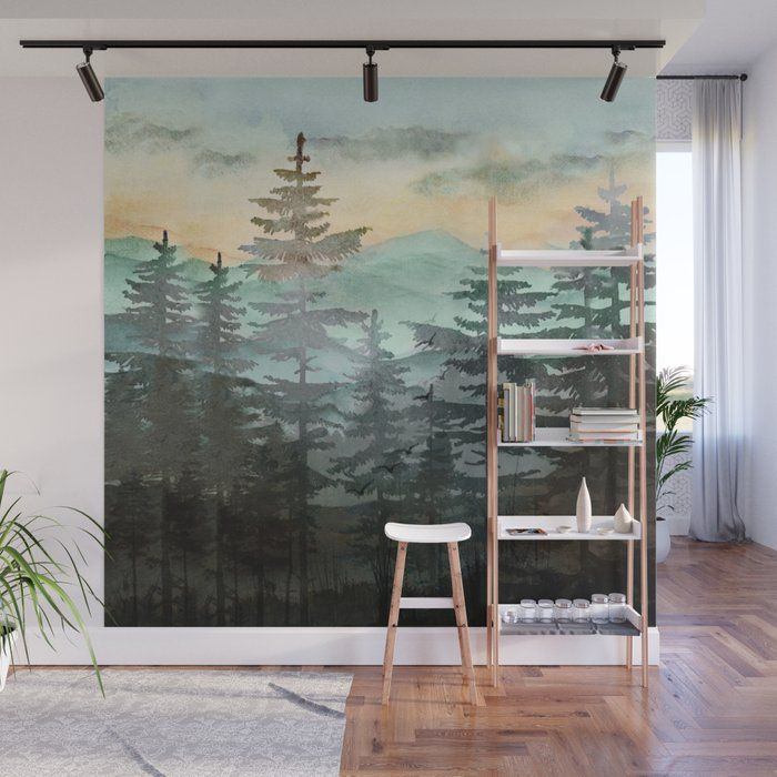 buy pine trees wall mural by nadja1 worldwide shipping on wall murals id=16241