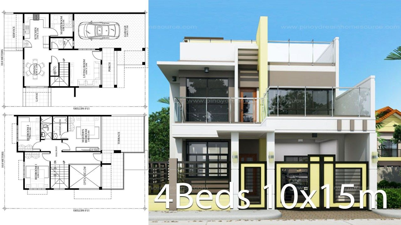 Home Design Plan 10x15m With 4 Bedrooms Home Ideas Home Design Plan House Design House Architecture Design
