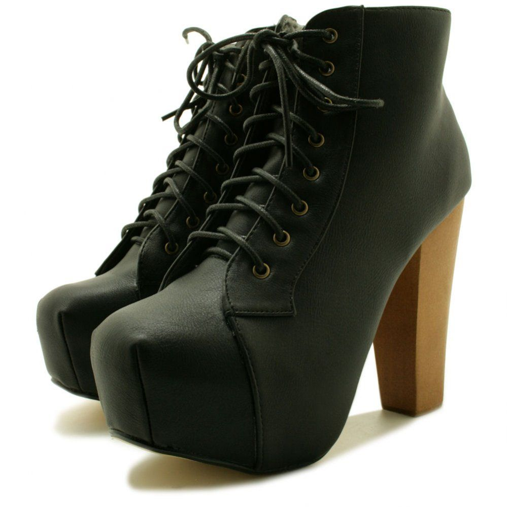 Ashley Lace Up Wooden Block Heel Concealed Platform Ankle Boots. Love these.