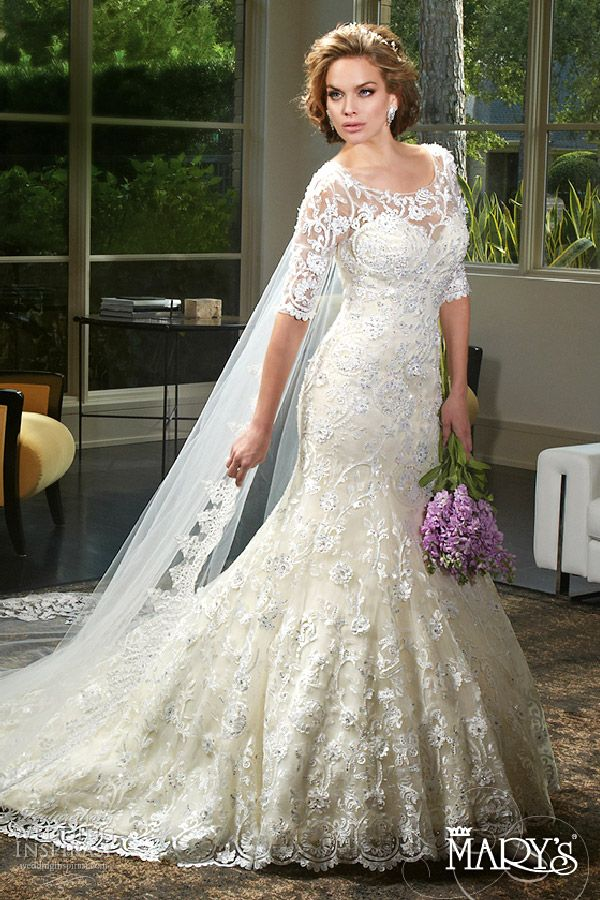 Mary S Bridal 2016 Lace Fit And Flare Wedding Gown With Half Sleeves