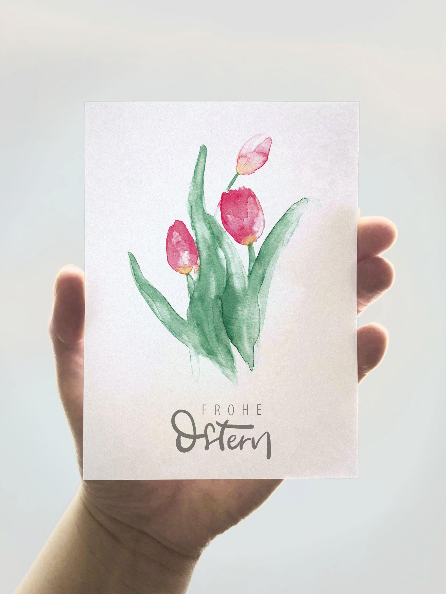 A6 Klappkarte Frohe Ostern mit Tulpen Illustration und Handlettering