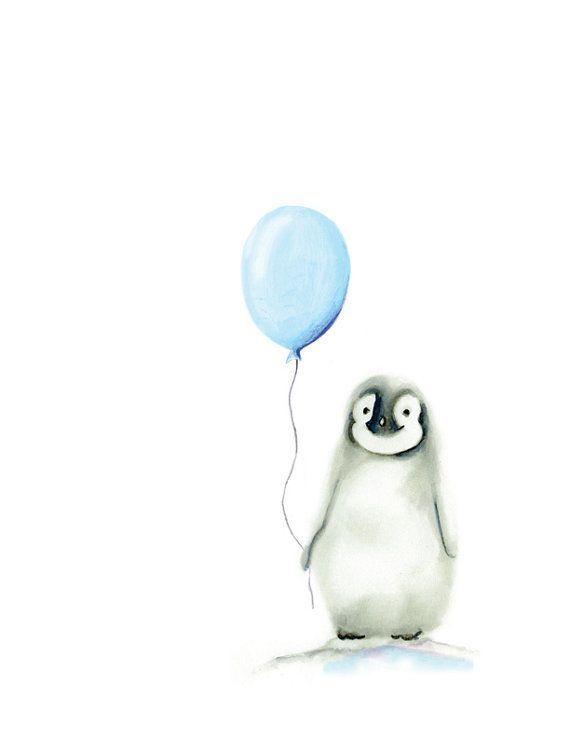 #painting #penguin #nursery #balloon #neutral #arctic #animal #gender #decor #print #baby #blue #wal...