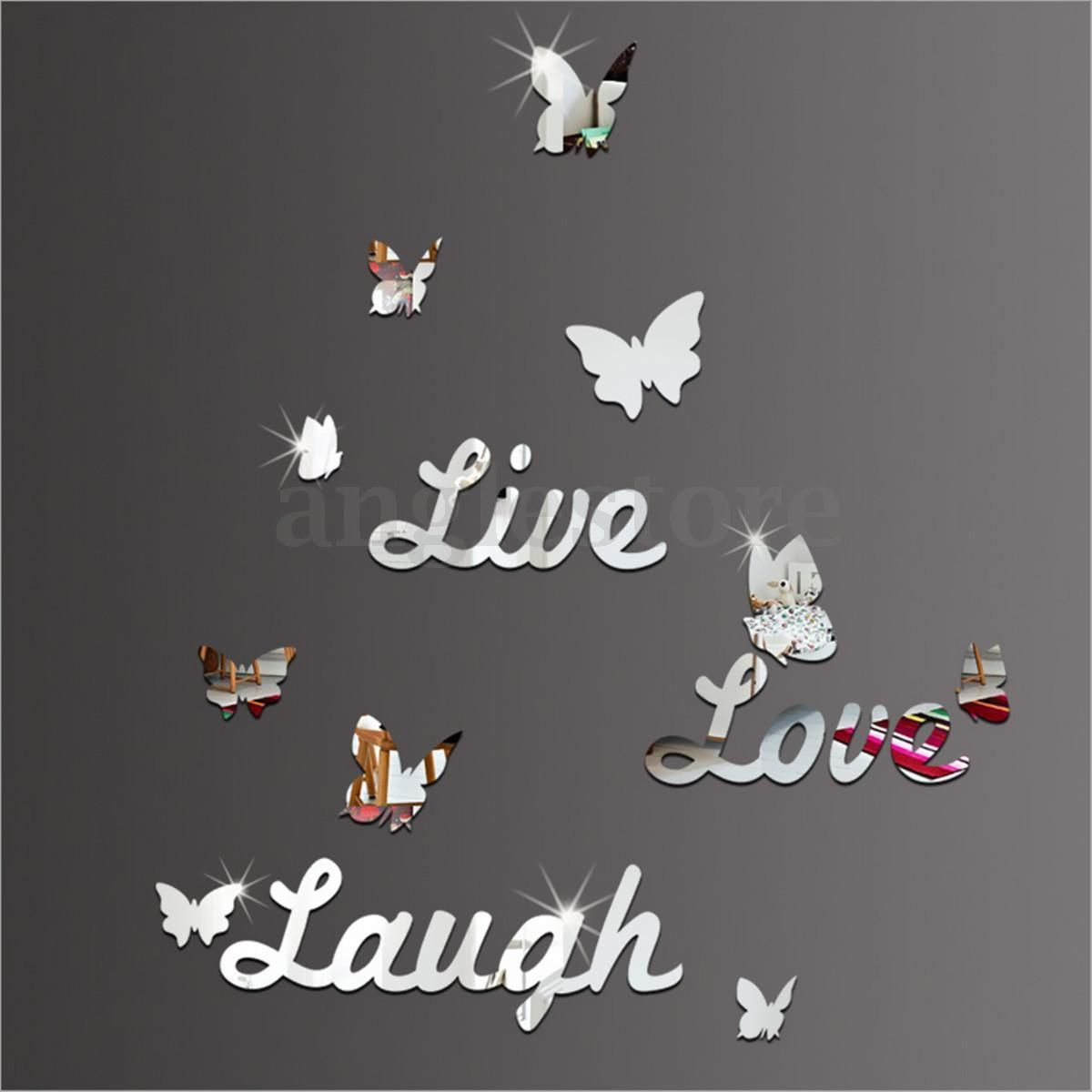 live laugh love quote vinyl wall stickers butterflies mirror decal