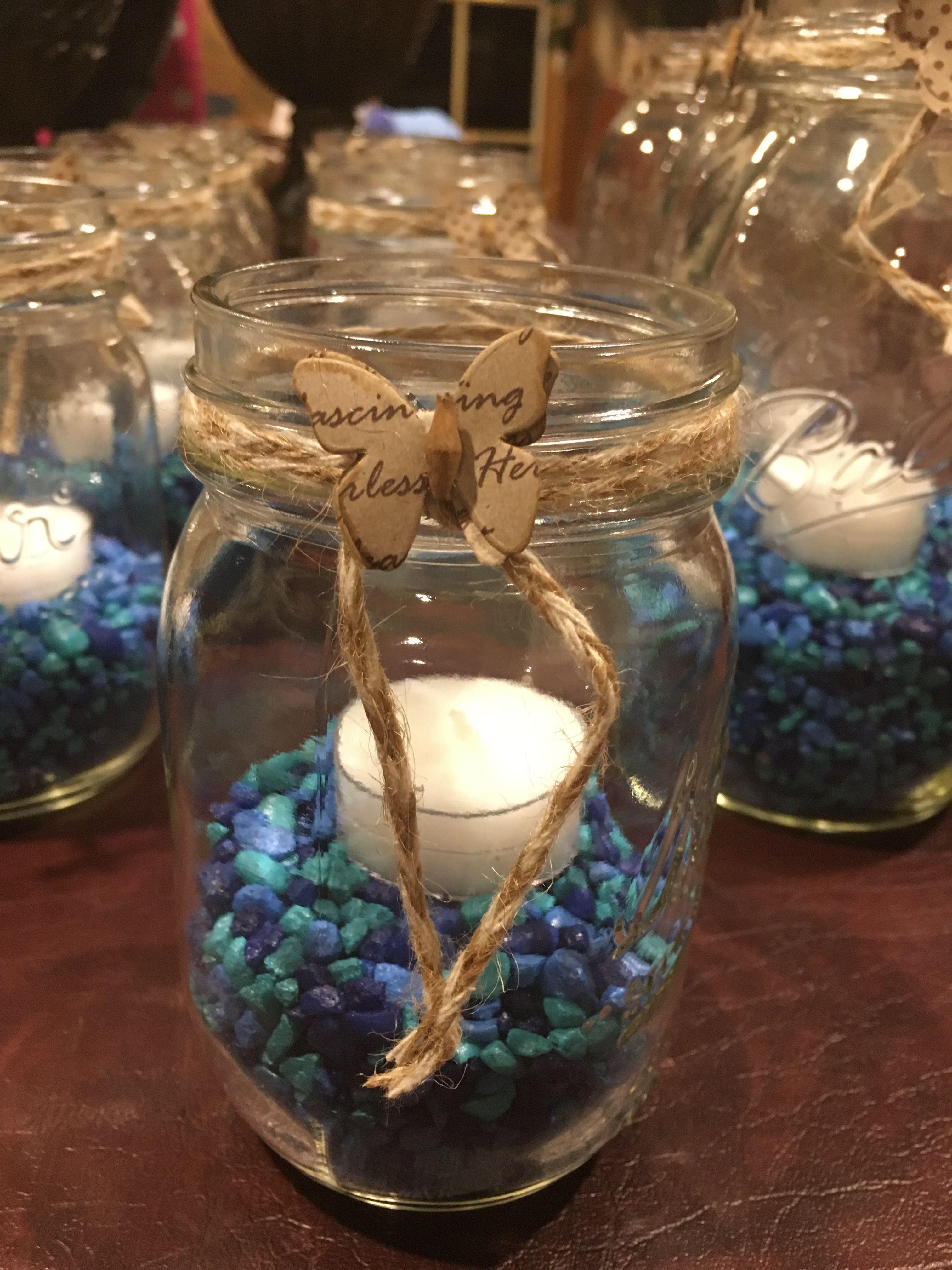 Blue Theme Bris Milah Centerpieces Tea Light Mason Jars