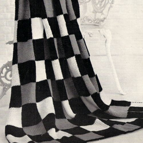 Knitted Checkerboard Afghan Pattern is 50 x 68 inches | Pinterest ...