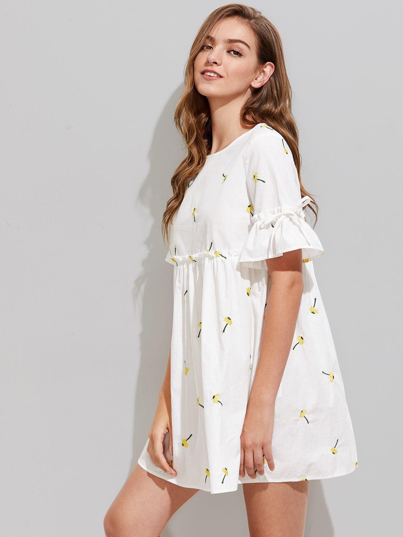6c002f79516 Dandelion Embroidered Frilled Fluted Sleeve Babydoll Dress -SheIn ...
