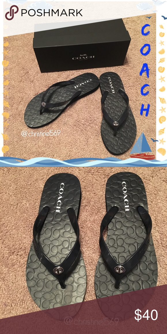 🆕🦋COACH🦋Navy Flip Flops 5 sizes NWOT NEW LISTING! COACH Midnight Navy Rubber Flip Flops Box included Coach Shoes Sandals