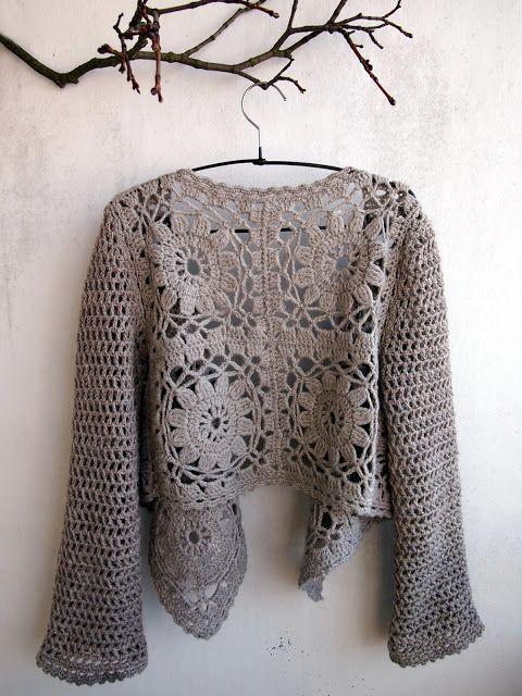 12 motif bolero with simple double crochet sleeves. Lovely. VMSom ...