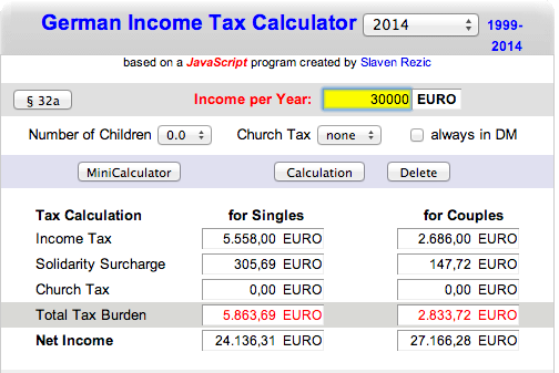 German Tax Income Calculator Freelance Work Germay Invoice