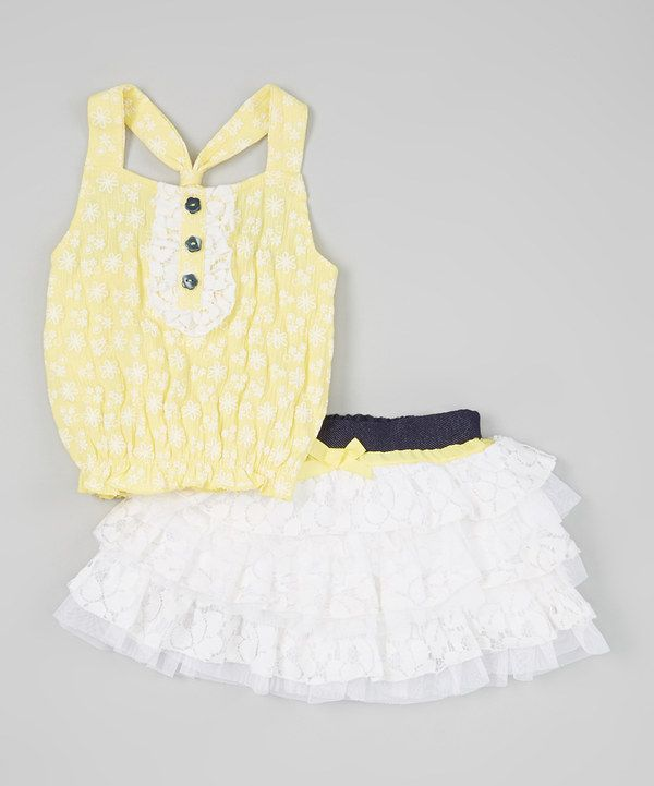 Love this Little Lass Yellow & White Ruffle Crop Top & Tiered Skirt - Infant & Toddler by Little Lass on #zulily! #zulilyfinds