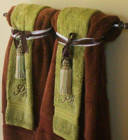 Bathroom towels brown green decorative towels - Decorative hand towels for bathroom ...