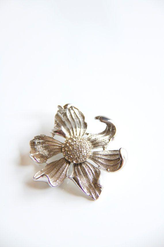 Vintage Boucher Brooch Silver tone dogwood flower by Bixipix, $28.00