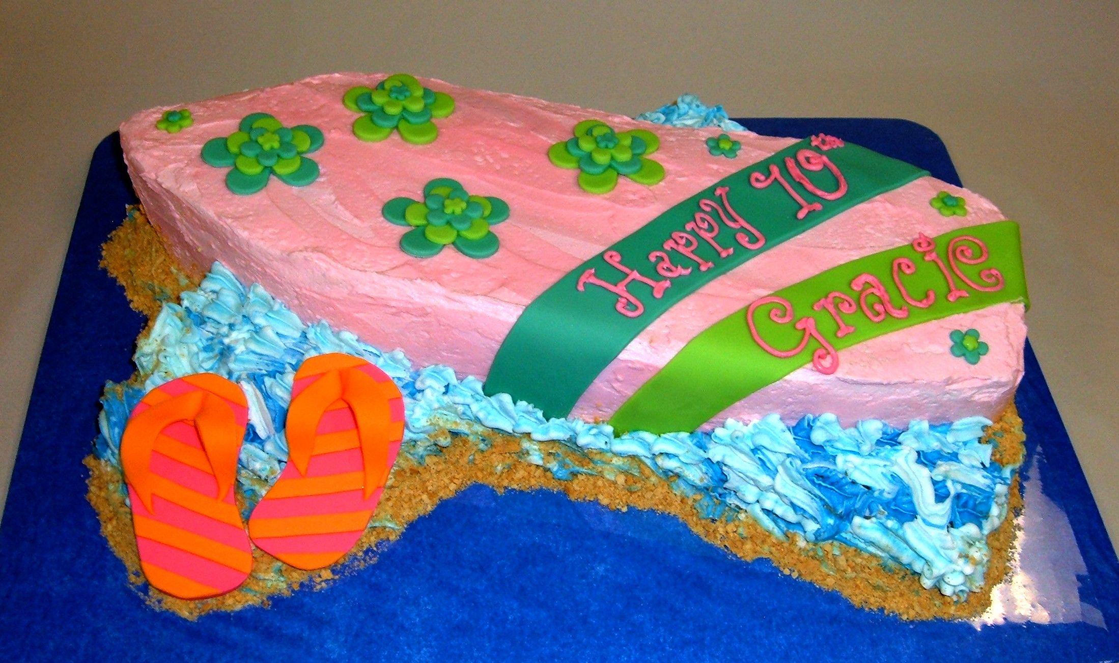 Custom Surf Board Cake With Fondant Detailing Happy 10th Birthday