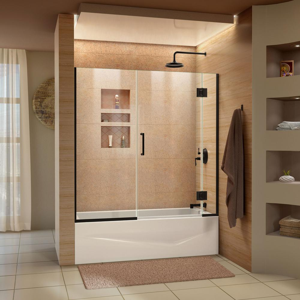Dreamline Unidoor X 58 58 5 In X 58 In Frameless Hinged Tub Door
