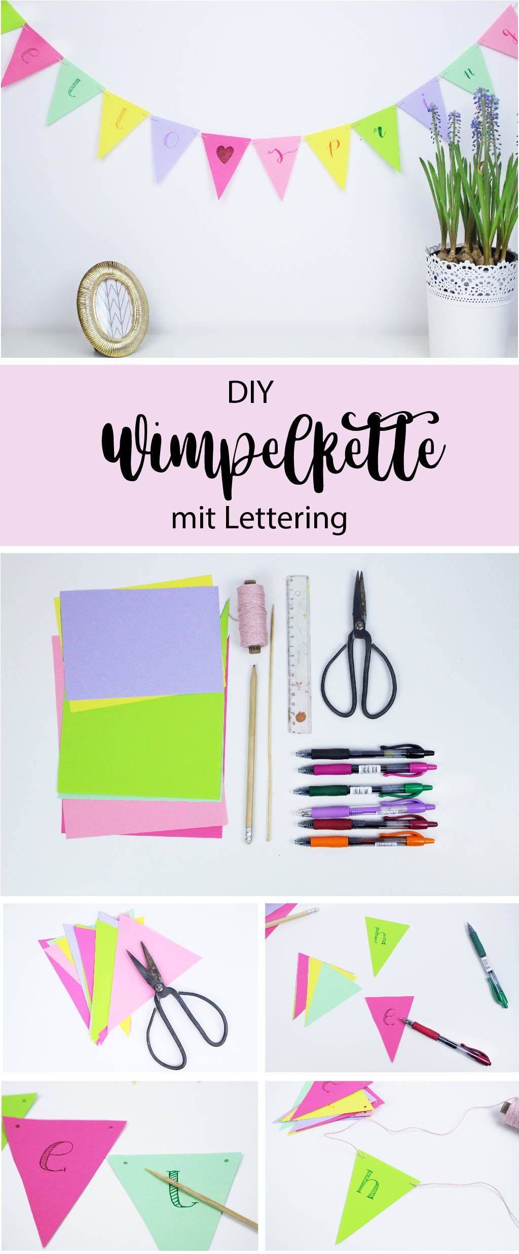diy fr hlingsdeko wimpelkette mit lettering basteln sch ne diy ideen aus papier basteln. Black Bedroom Furniture Sets. Home Design Ideas