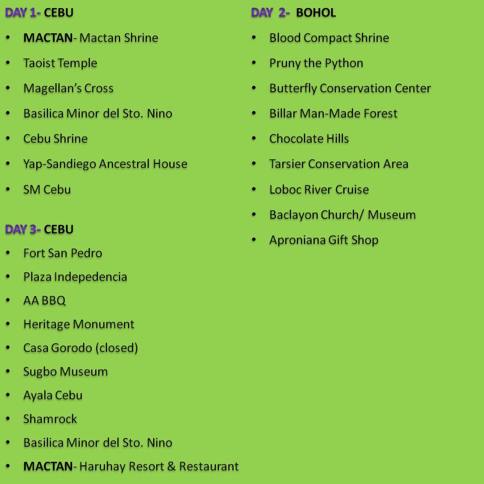 Cebu Bohol Itinerary Bing Images