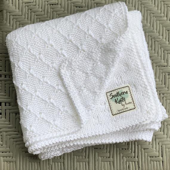 Newborn 100 Pima Cotton Handknit Baby Blanket Baby Carriage Blanket Birth Gift Made In Usa Baby Blanket Hand Knitting Baby Carriage