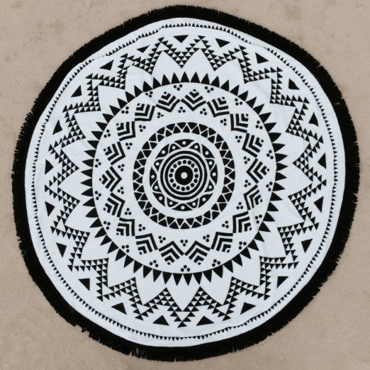 Amazon Com Tribe Of Us Round Beach Towel With Tassels Aztec