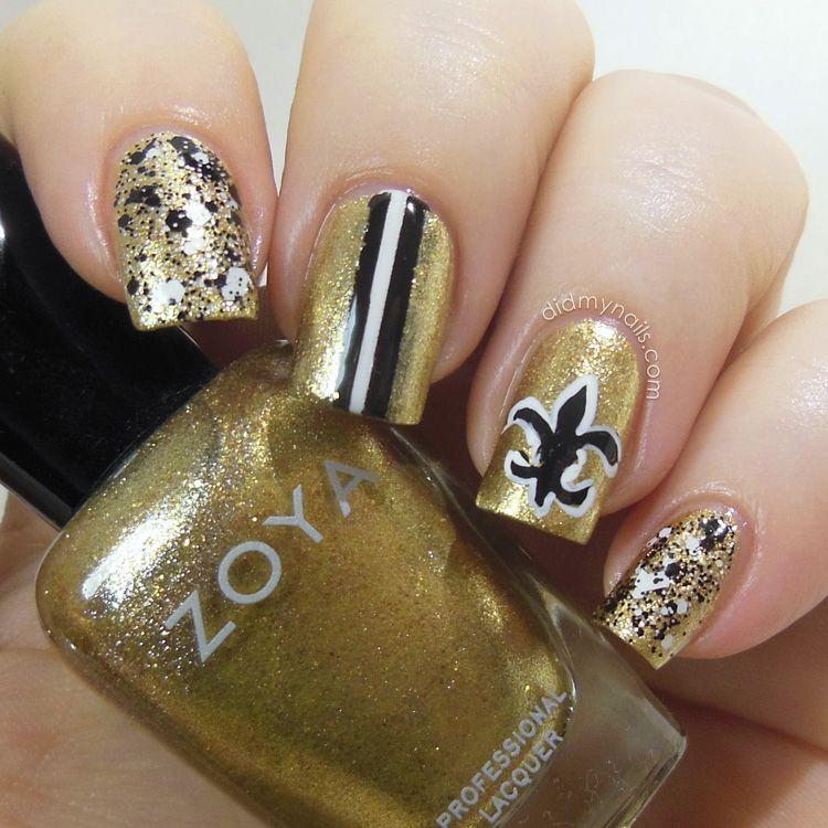 New Orleans Saints nail art | Beauty, nails, & hair <3 | Pinterest ...