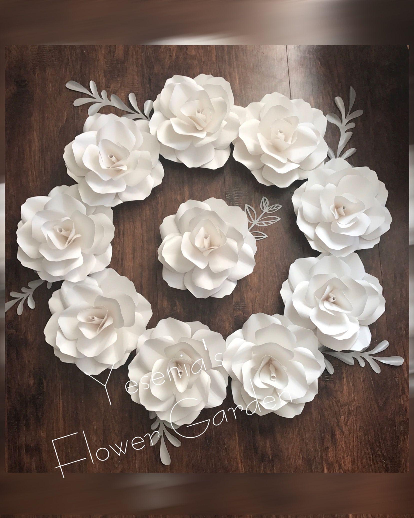 White paper flower roses wreath paper flowers pinterest white white paper flower roses wreath mightylinksfo