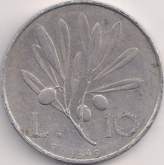 Wertseite: Münze-Europa-Südeuropa-Italien-Lira-10.00-1946-1950