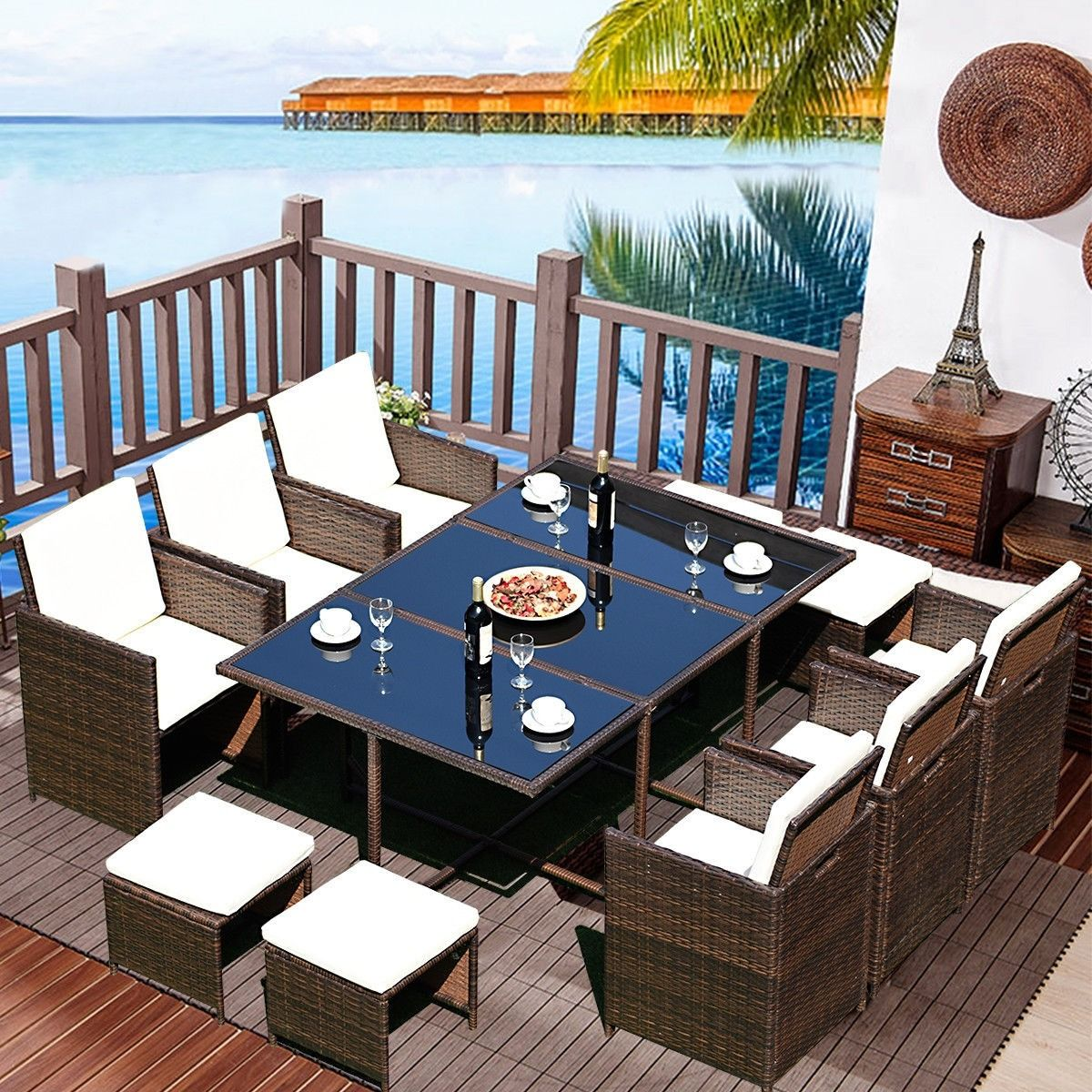 11 Pcs Outdoor Patio Dining Rattan Wicker Furniture Set 595 95