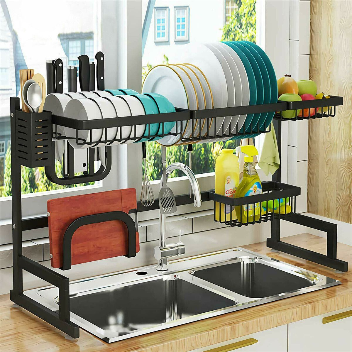 Over Sink Shelf Dish Cutlery Drying Drainer Utensils Holder Washing Organizer Kitchen Space Saverstainless Steel Dish Drying Rack Over Sink Drainer Shelf Storag In 2020 Dish Rack Drying Sink Dish Rack