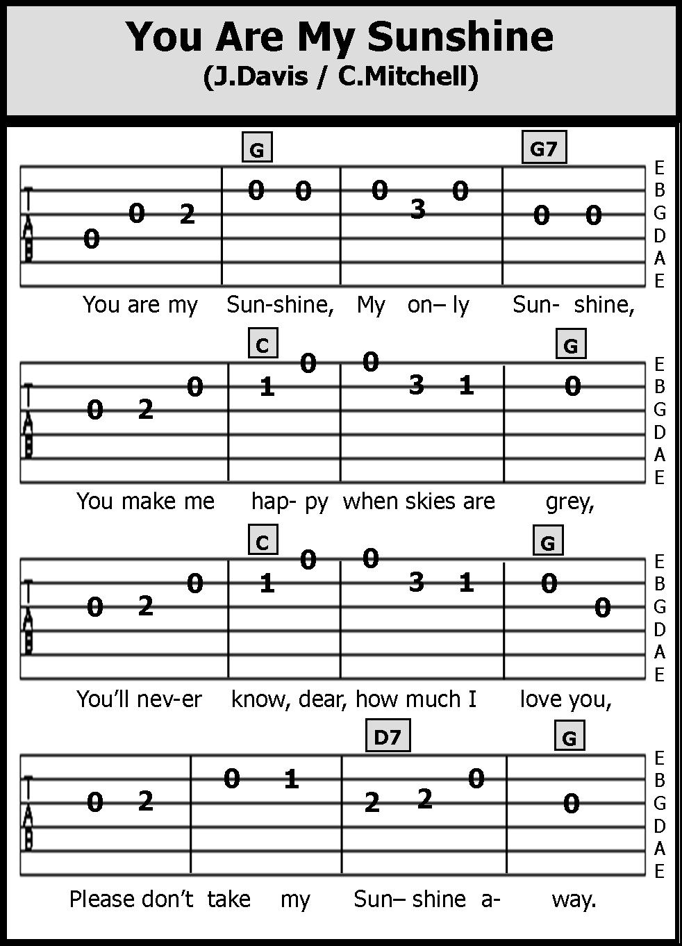 How To Play You Are My Sunshine On Guitar : sunshine, guitar, Guitar, Songs:, Sunshin, #guitar, Sunshine, Songs,, Ukulele, Fingerpicking, Chords, Songs