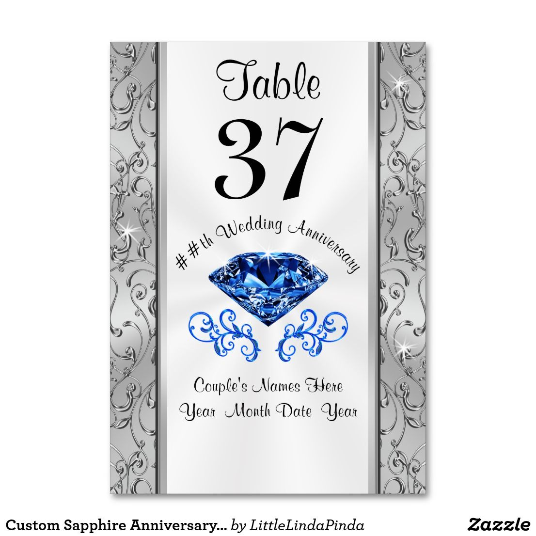 Custom Sapphire Anniversary Table Number Cards Zazzle