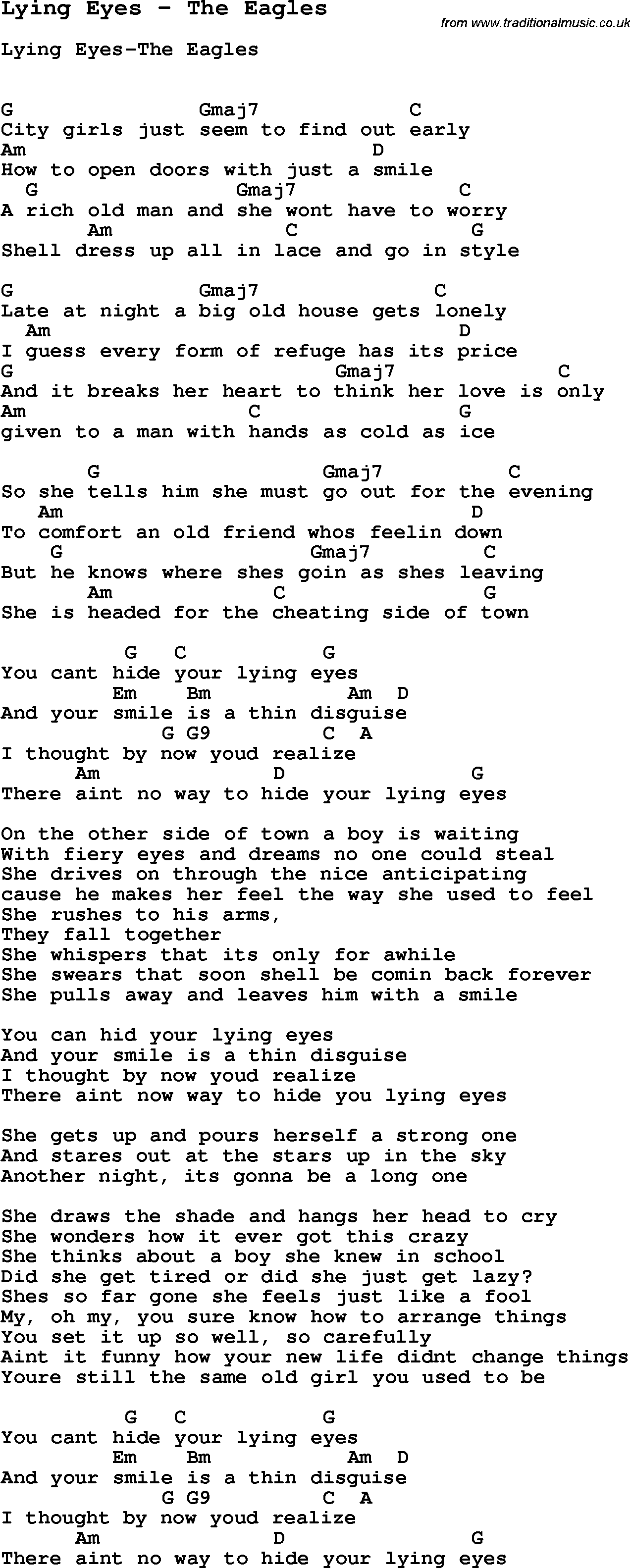 Lying Eyes The Eagles Guitar Chords For Songs Guitar Songs Lyrics And Chords