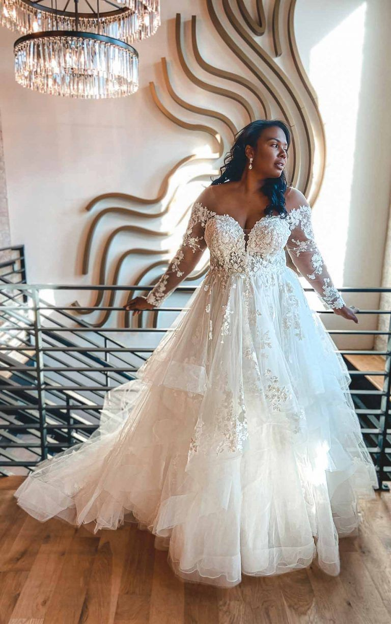 Off The Shoulder Lace Plus Size Ballgown Wedding Dress With Tiered Skirt Kleinfeld Bridal Ball Gowns Wedding Essense Of Australia Wedding Dresses Plus Wedding Dresses [ jpg ]