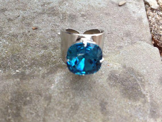 Swarovski Indigo Ocean Ring on Etsy, $25.00