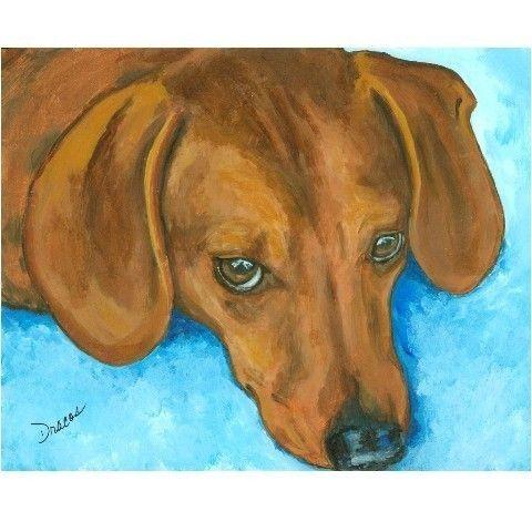 Dachshund Dog Art Print of Original Painting by door DottieDracos,