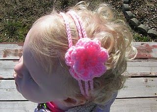crochet child head band pattern with flower
