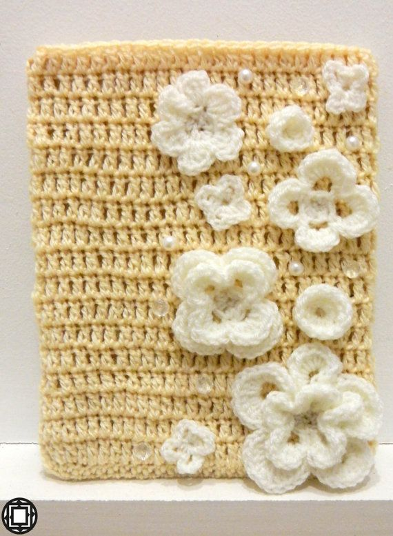 Wedding iPad Case crochet flowers pearls