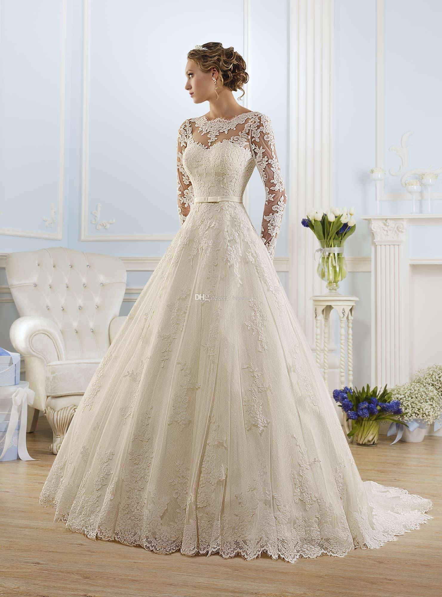 Wedding dress with bow on back  Discount Long Sleeves Wedding Dress With Bow Sash Open Back Bridal