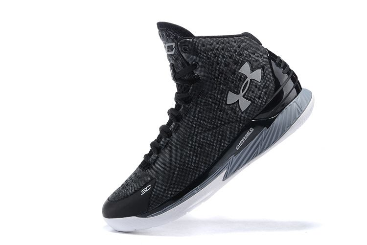19e3b78d273 Newest And Cheapest UA Stephen Youth Curry One 1 Playoffs Black Silver 2016 Basketball  Shoes