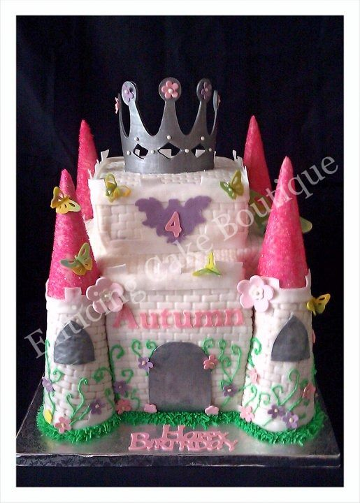 3D Princess Castle Square Birthday Cake With Crown Made Buttercream Fondant And Gumpaste