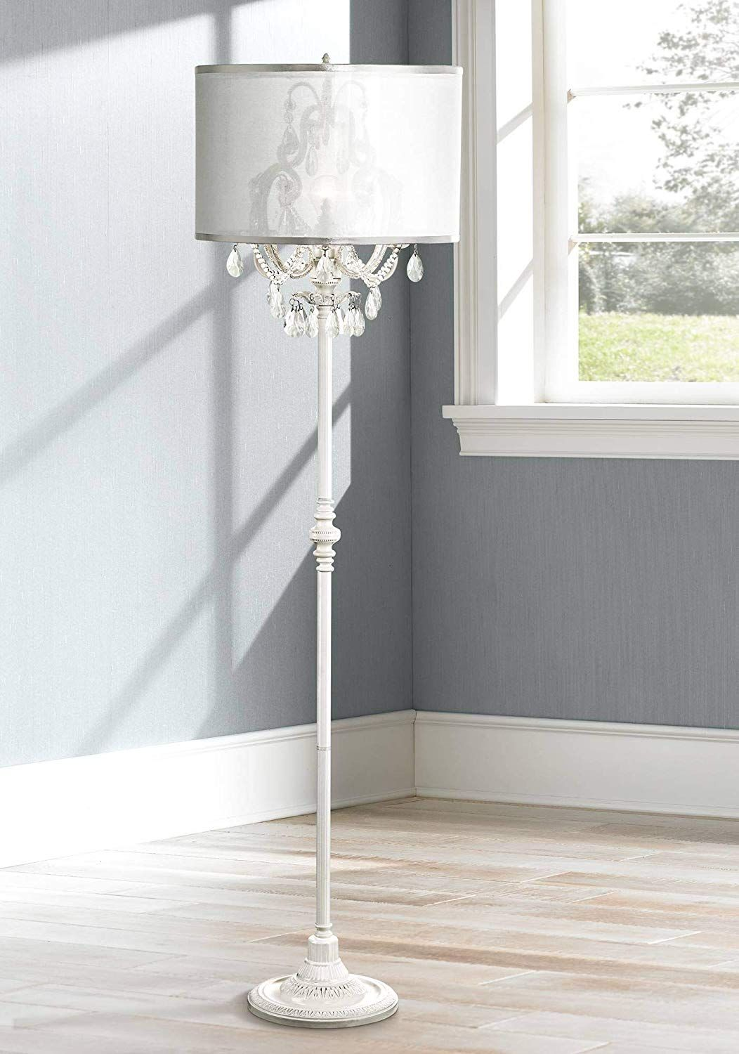 Ciara Shabby Chic Floor Lamp Antique White Chandelier Style
