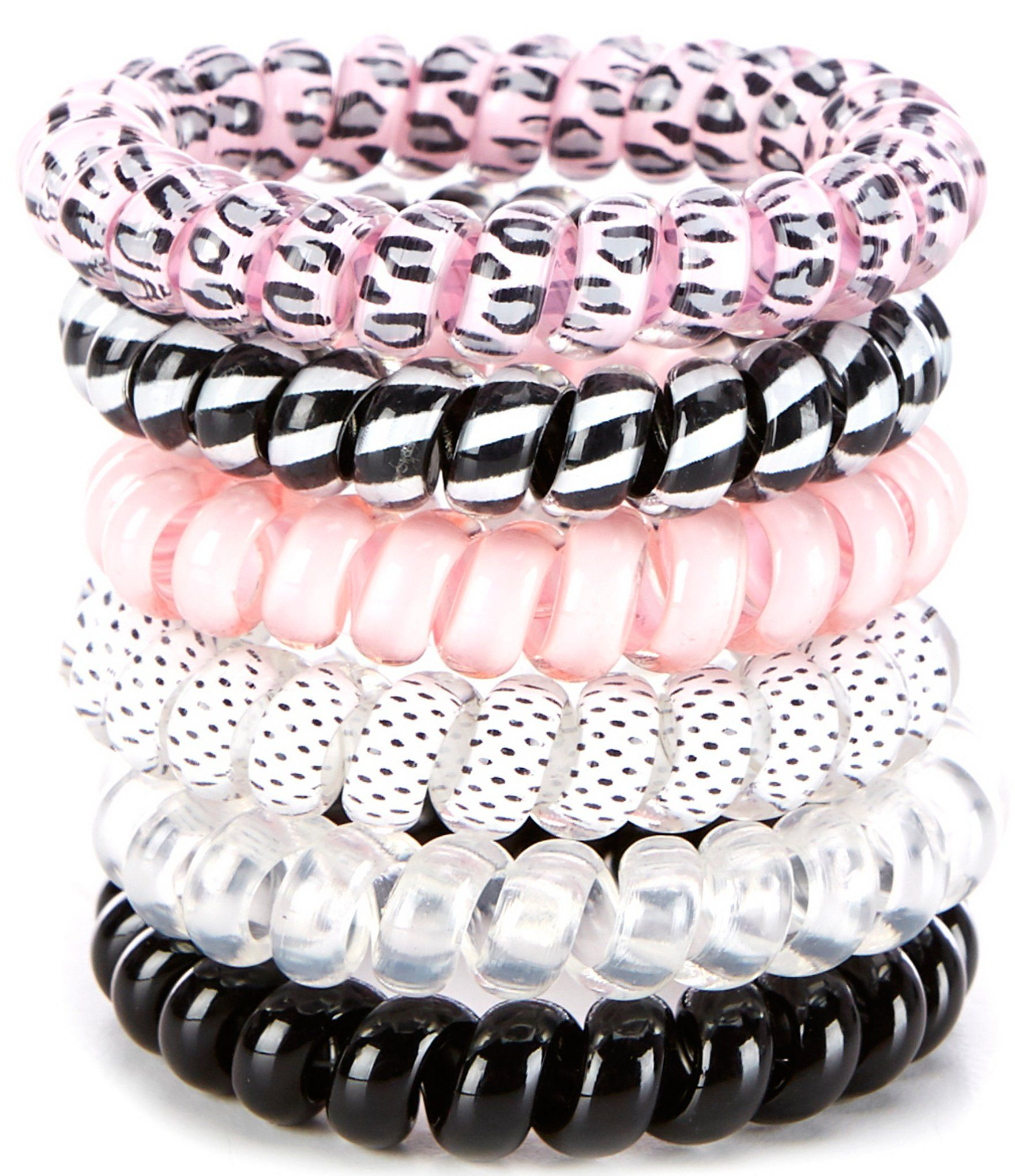 From GB Girls, these hair ties feature:6-packmulti-coil hair tiesacrylicspot cleanImported.